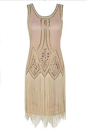 847b409a31bee5 kayamiya Women's Inspired 20s Sequined Beaded Art Deco Gatsby Flapper Dress  S Champagne