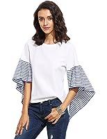 SheIn Women's Striped Ruffle Asymmetric Bell Sleeve Blouse Top