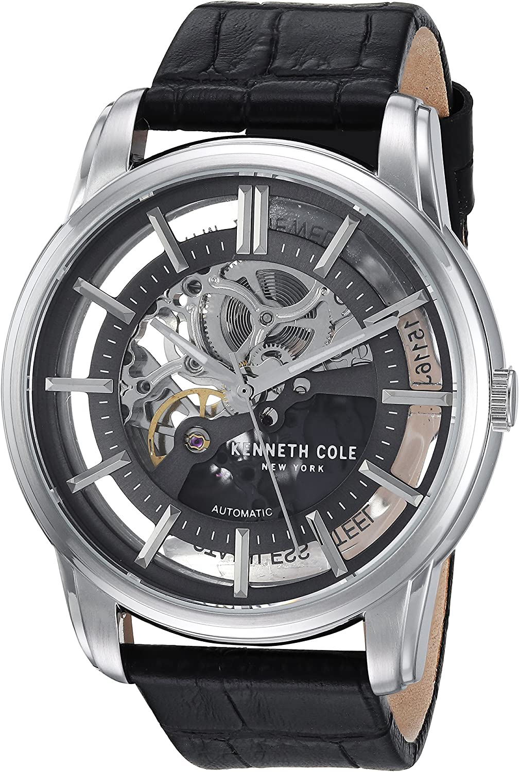 Kenneth Cole New York Men s Auto Automatic Stainless Steel and Leather Dress Watch