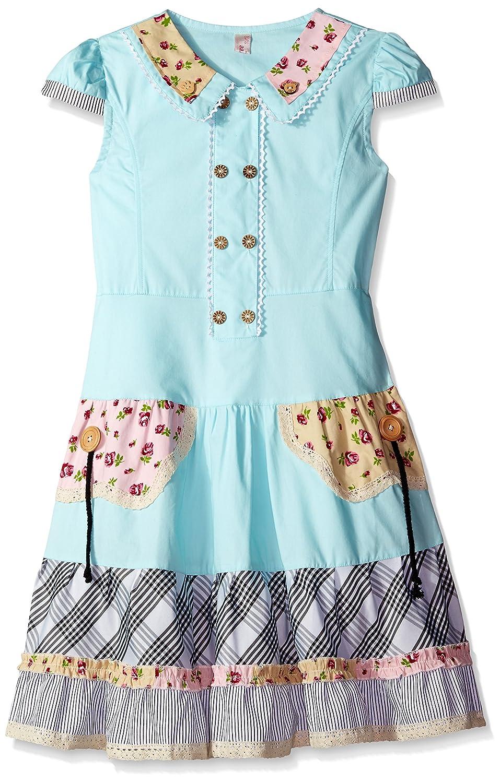 Sunny Fashion girls Girls Dress Blue Cute Colorful Collar Back School FC51
