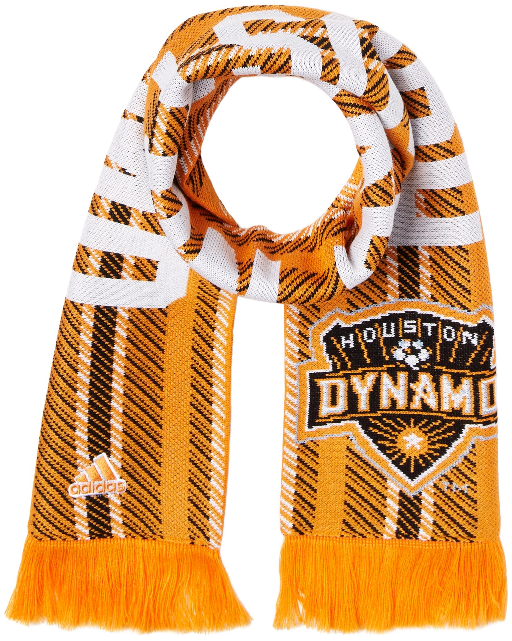 adidas MLS Houston Dynamo Jacquard Scarf with Block Name, One Size, Orange