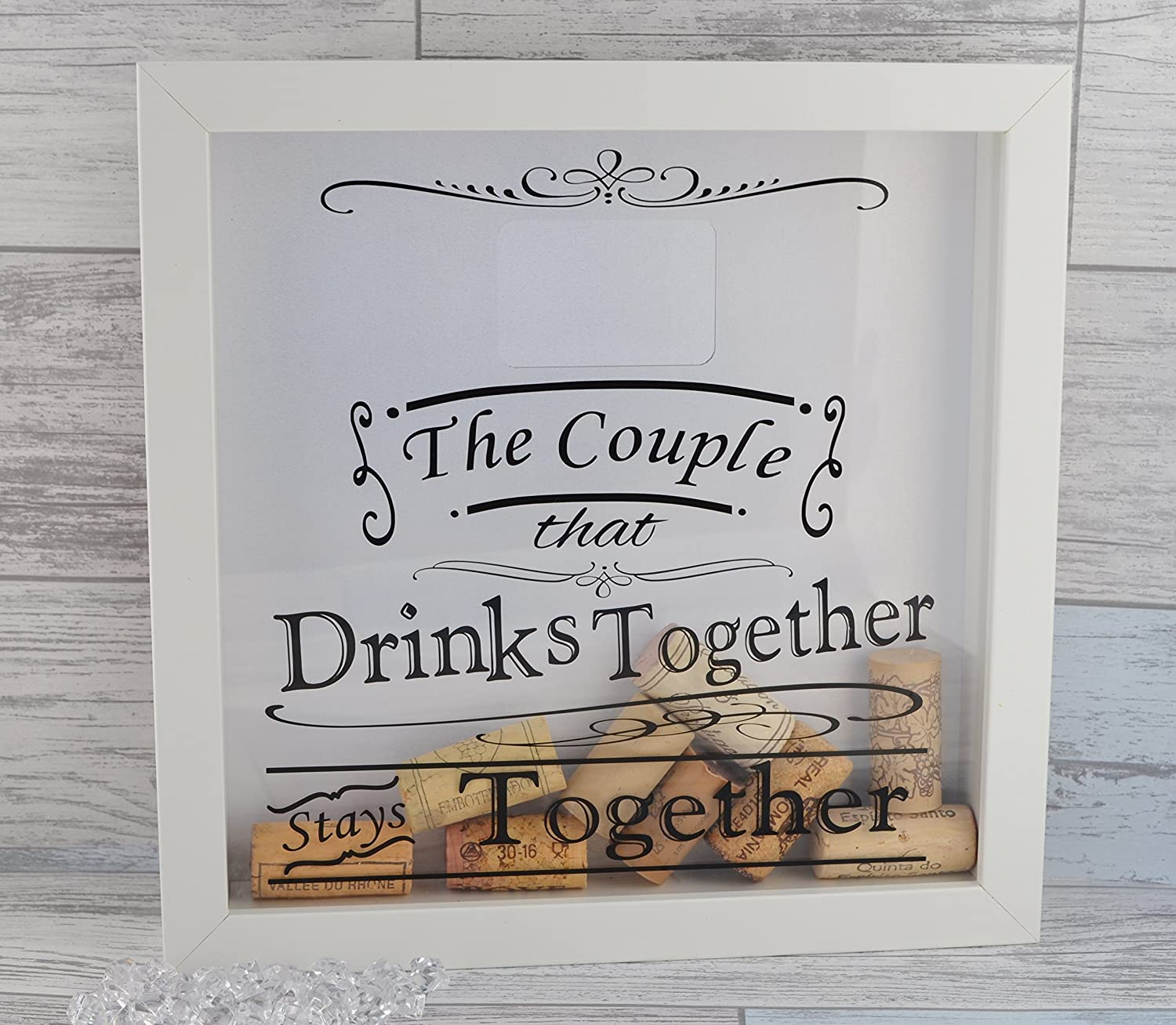 Couples Gift  Wine Lovers Cork Cap Collection Shadow Box