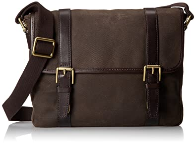 Fossil Canvas Dark Brown Messenger Bag Handbag (MBG9000201)  Amazon ... d27094a8f561c