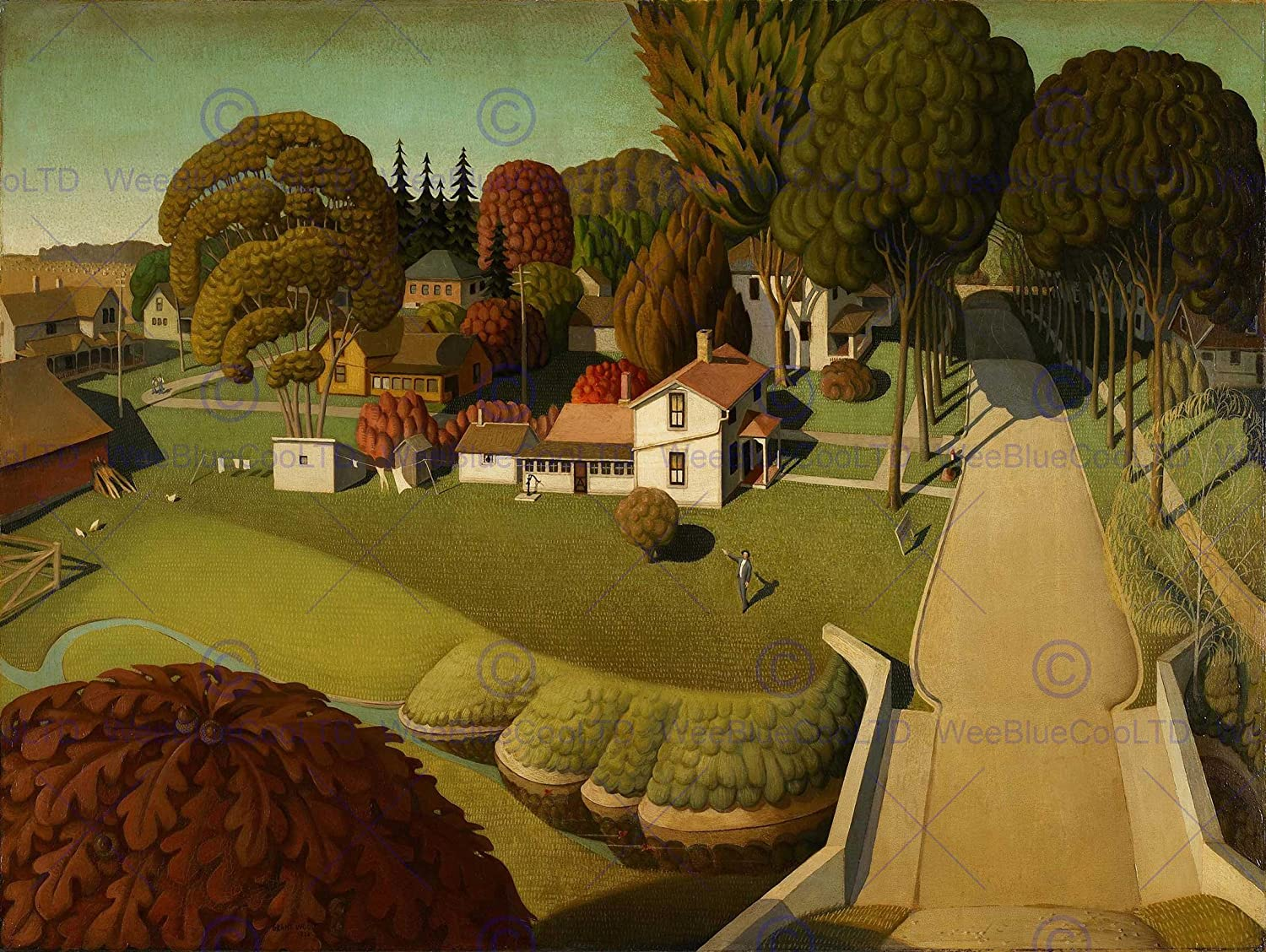Wee Blue Coo Grant Wood Birthplace of Herbert Hoover Art Print Poster Picture