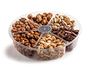 The Nuttery Deluxe Roasted salted Nuts Gift Basket, 6-Section Holiday Gift Assortment