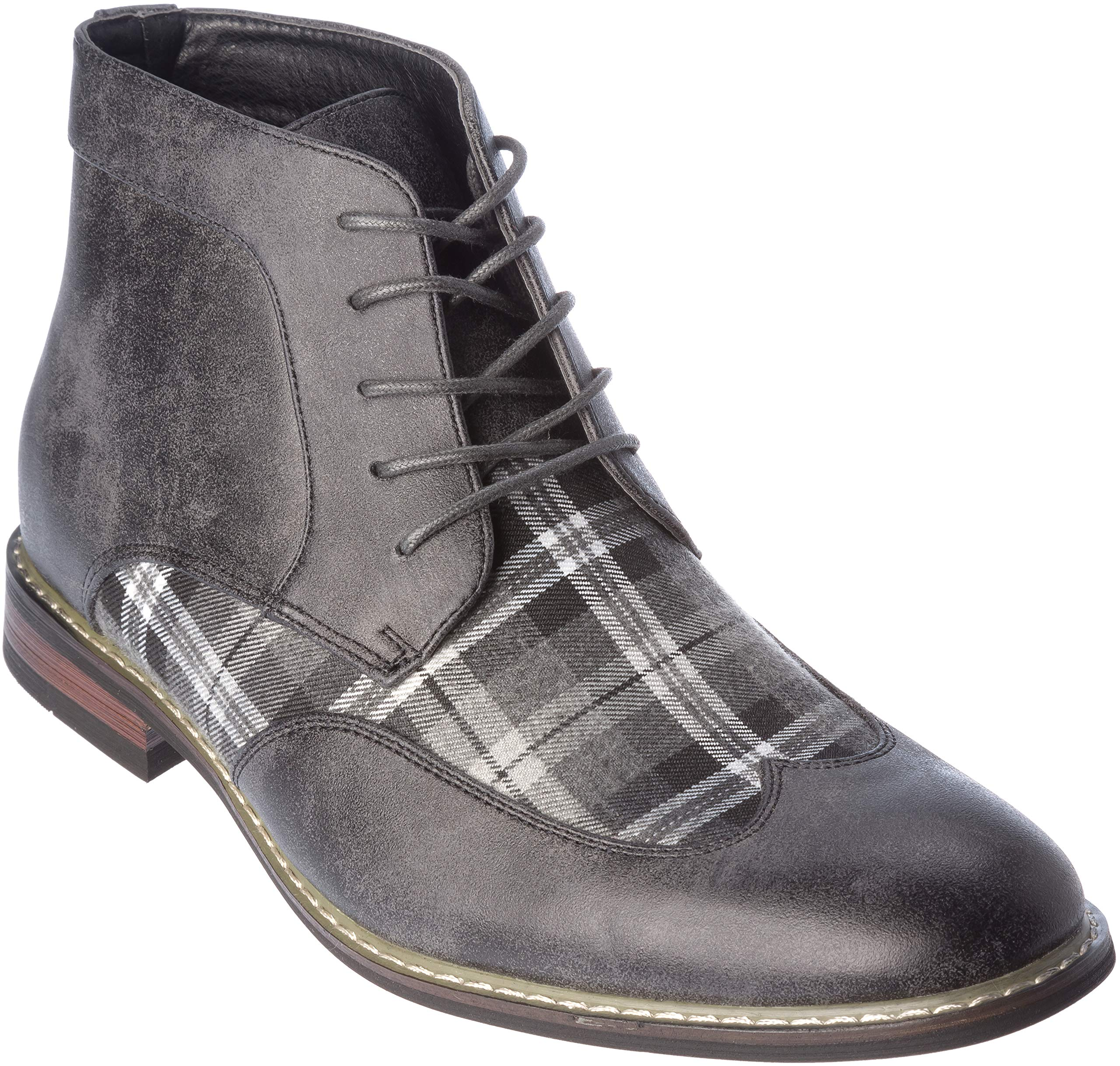 titan04h Mens Lace-Up Oxford Style Combat Boots Grey-White Dress-Shoes Size 12