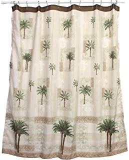 Bacova Guild Citrus Palm Fabric Shower Curtain, Beige/Green  Tropical Shower Curtain