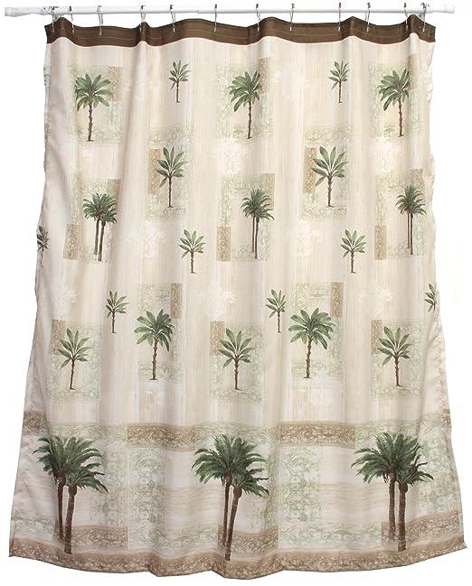 Amazon.com: Bacova Guild Citrus Palm Fabric Shower Curtain, Beige ...