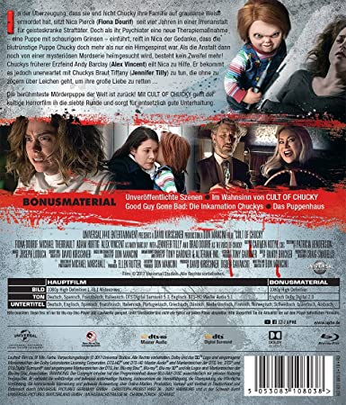 Cult of Chucky [Blu-ray]: Amazon.es: Dourif, Fiona, Tilly, Jennifer, Vincent, Alex, Rosen, Elisabeth, Therriault, Michael, Kung, Grace Lynn, Howell, Summer, Santiago, Zak, Doiron, Allison Dawn, Hurtig, Adam, Ritchie, Aidan, Anniko, Tom, Bryant,
