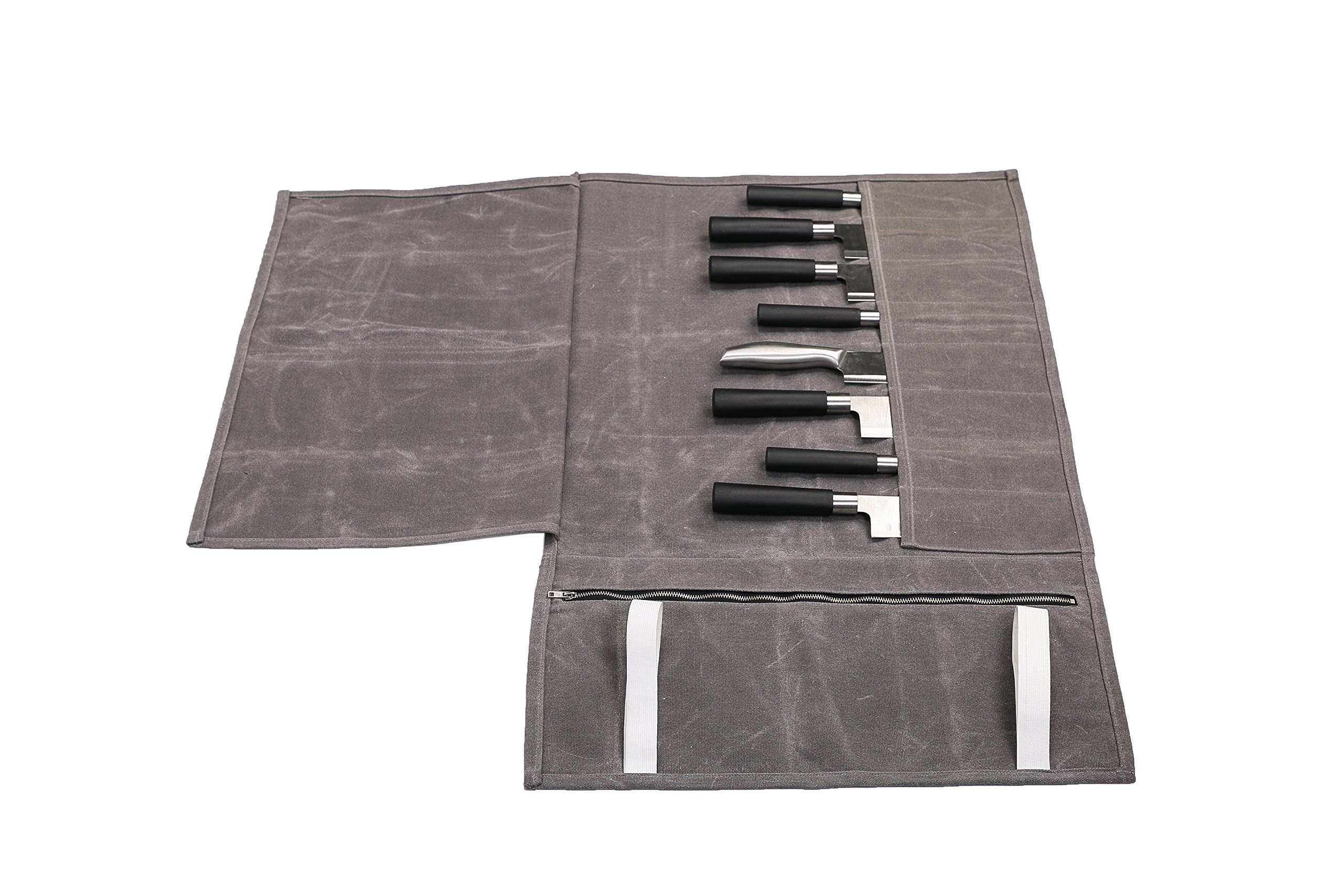 Hersent Waterproof Waxed Canvas Chef's Knife Roll Up Storage Bag with 8 Slots Portable Travel Chef Knife Case Carrier Stores Up 8 Knives Plus a Zipper Pocket for Kitchen Utensils HGJ17-C-US by Hersent (Image #6)