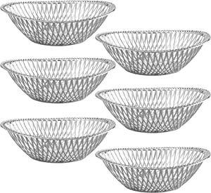 "Small Plastic Silver Bread Baskets - 6 Pack Reusable 8"" Oval Food Storage Basket - Elegant Modern Décor for Kitchen, Restaurant, Centerpiece Display - by Impressive Creations"