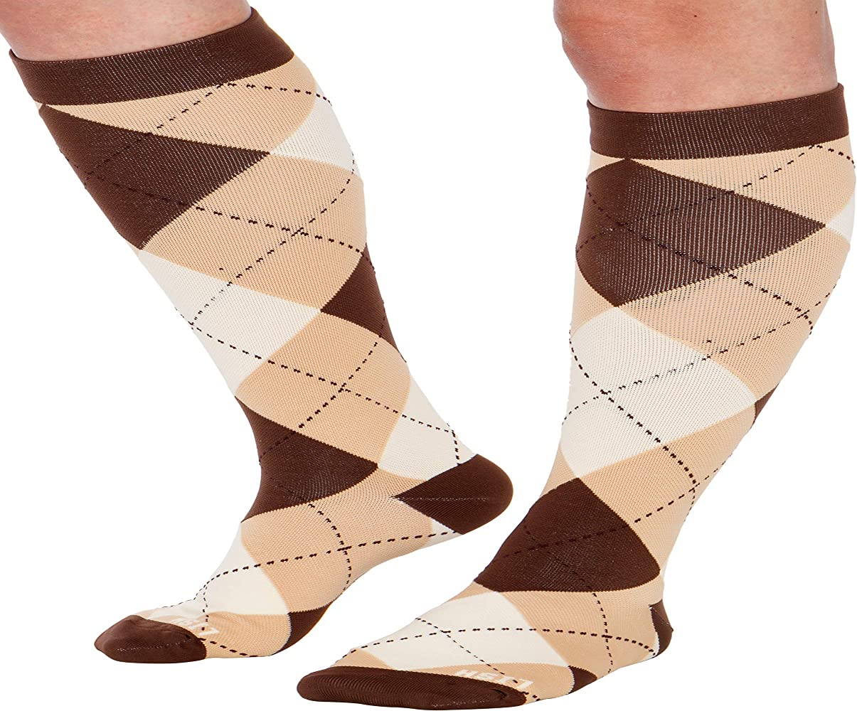Wide Calf Compression Socks Graduated 15-25 mmHg Knee High Heart Love Pattern Plus Size Support Stockings