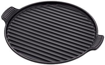 LE CREUSET Plato Grill Redondo Liso Grande, Hierro Fundido, Negro Mate, 32 cm: Amazon.es: Hogar