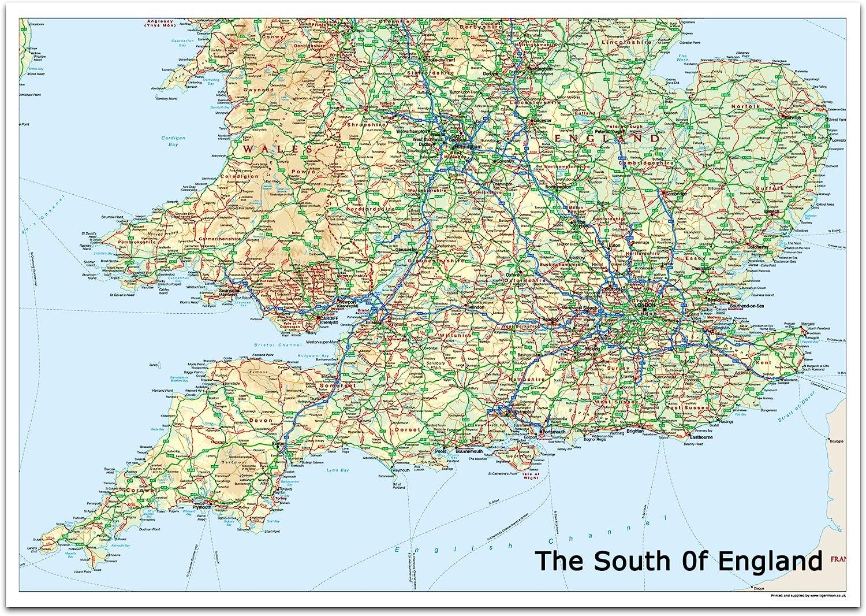 south of england map The South Of England Map 100 X 70 Cm Amazon Co Uk Office Products