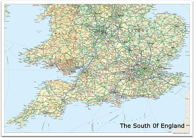 Mapa del sur de Inglaterra, incluye ciudades, pueblos y carreteras, Gran Londres y zonas de conexión, 84,1 x 118,9 cm (A0), ideal para planificación de rutas, aula, oficina u hogar: Amazon.es: Oficina