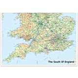 Road Map Of England And Wales With Towns.Relief Map 4 South England Wales Standard Matt Paper Amazon