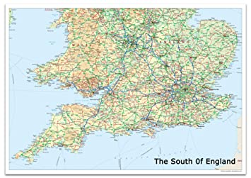 Map Of England South.The South Of England Map A0 Size 84 1 X 118 9 Cm
