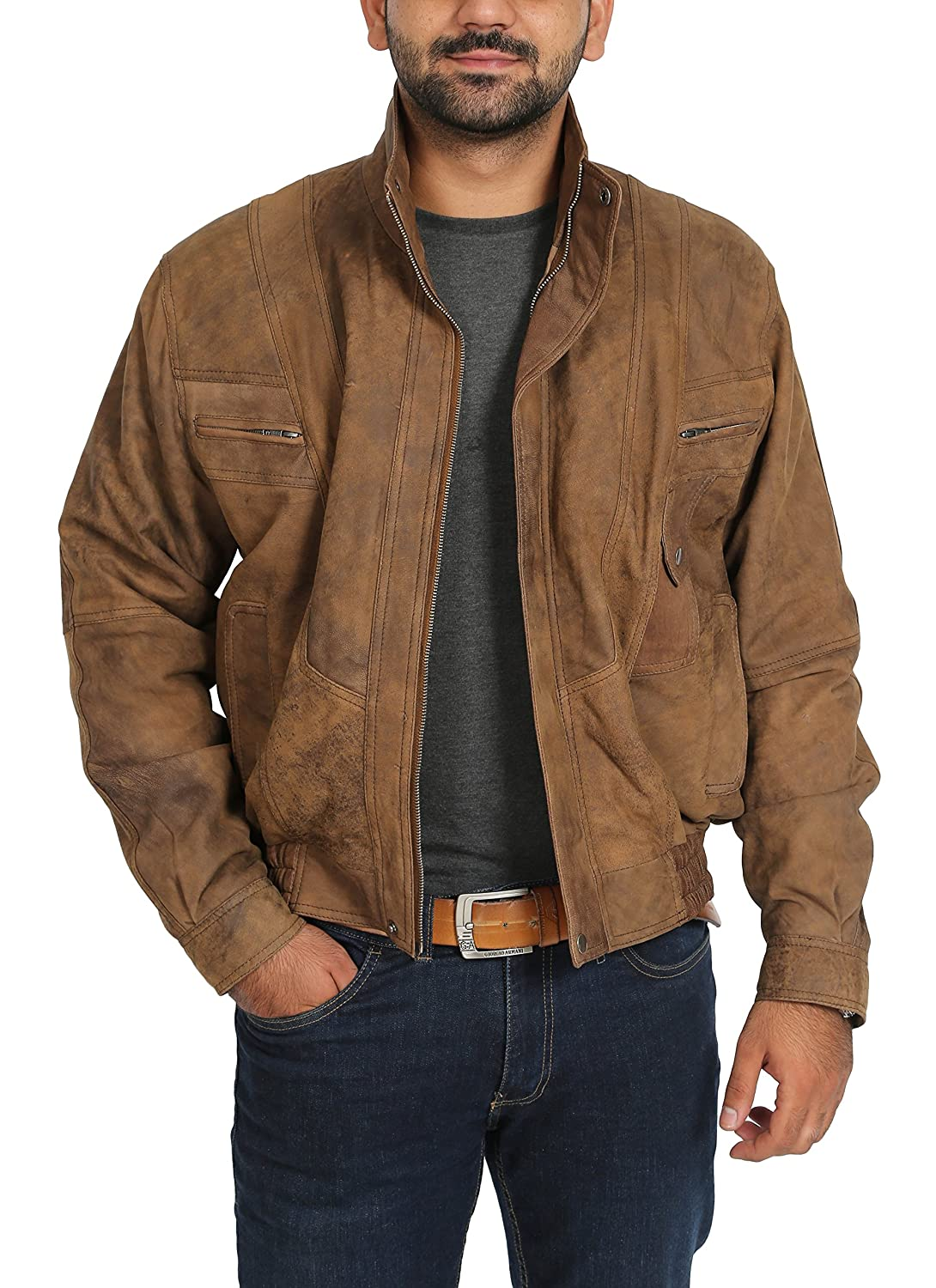 Mens Bomber Blouson Style Classic Antique Leather Jacket Robert Brown House of Leather