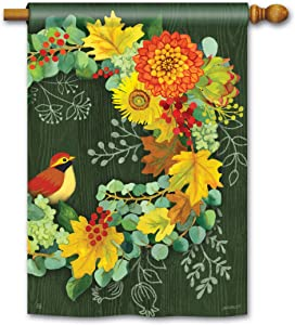 BreezeArt Studio M Fall Wreath Standard House Flag Banner - Premium Quality, 28 x 40 Inches