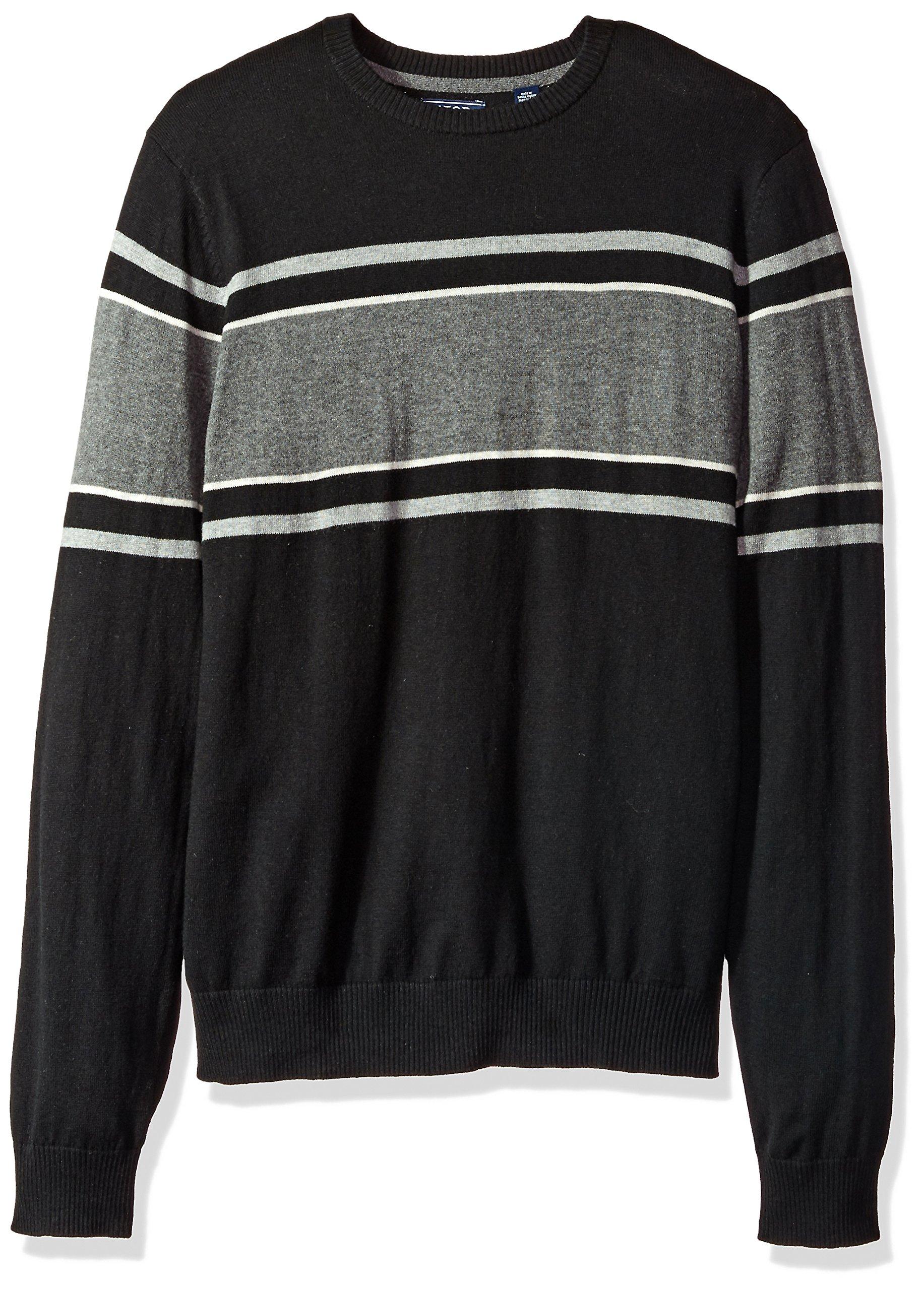 IZOD Men's Fine Gauge Crew Sweater, Black, Large