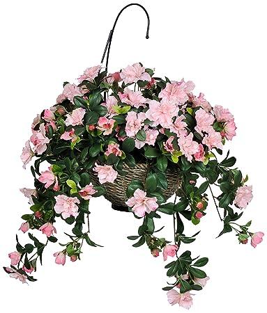 Amazon house of silk flowers artificial pink azalea hanging house of silk flowers artificial pink azalea hanging basket mightylinksfo