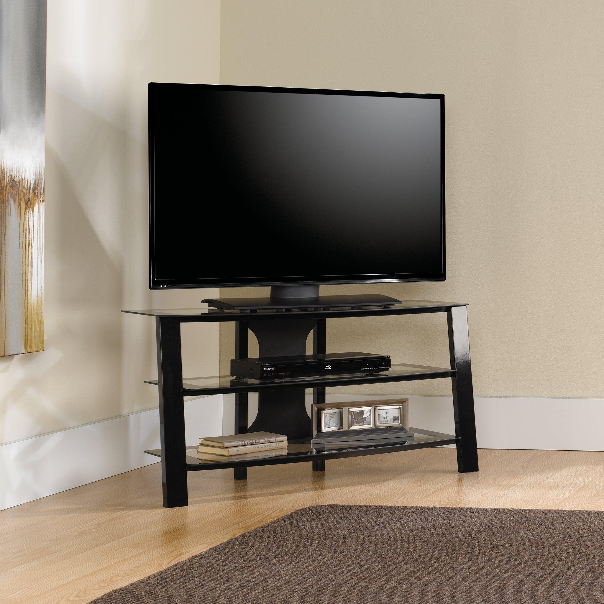 Sauder 412067 Mirage Panel TV Stand, Black/Clear Glass