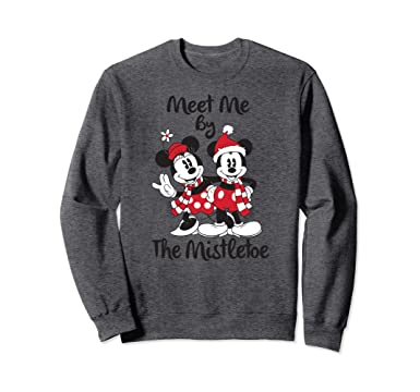 unisex disney mickey mouse mistletoe christmas sweatshirt 2xl dark heather