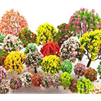 MOMOONNON 32 Pieces Model Trees 3.5cm - 10cm Mixed Model Tree Train Scenery Architecture Trees Fake Trees for DIY Crafts…