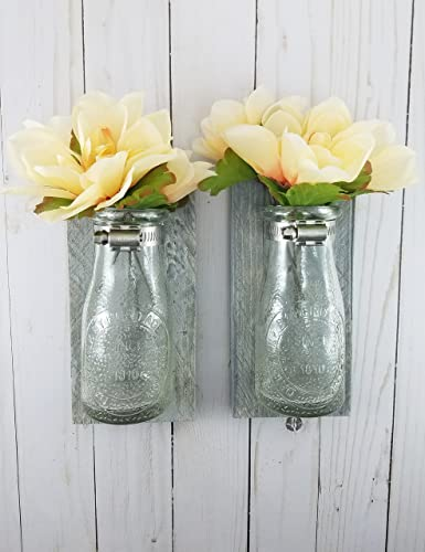 Amazon.com: Reclaimed Wood Wall Decor - Dairy Bottle Flower Holder ...