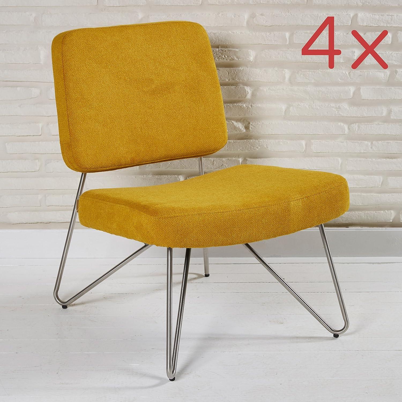 4er Set knallige Stühle im Retro Look aus Stoff für Ihren Wohnbereich - Sitzmöbel Lounge Designer Sessel in orange