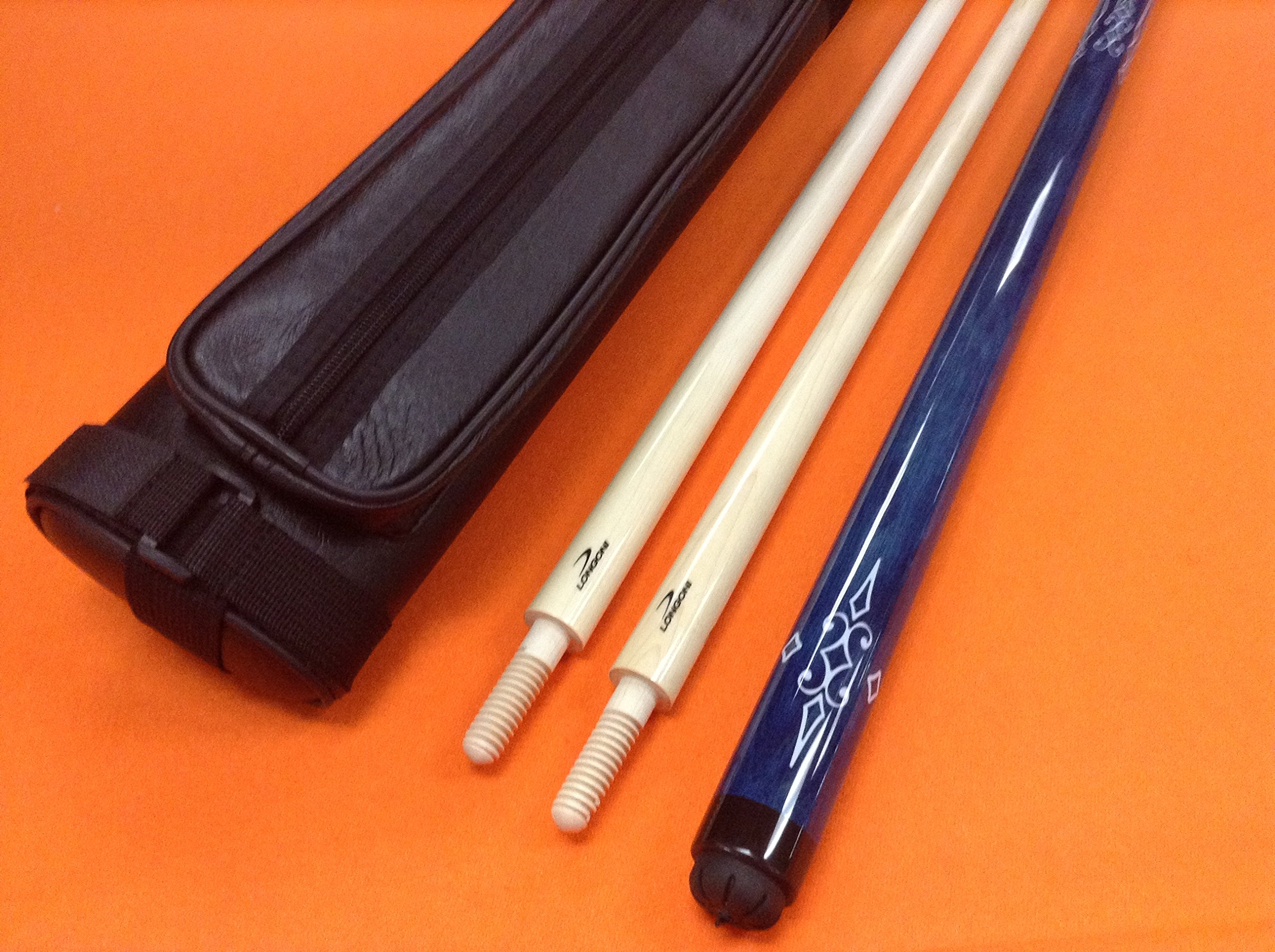 LONGONI CAROM CUE BLUE WITH 2 SHAFTS & CASE