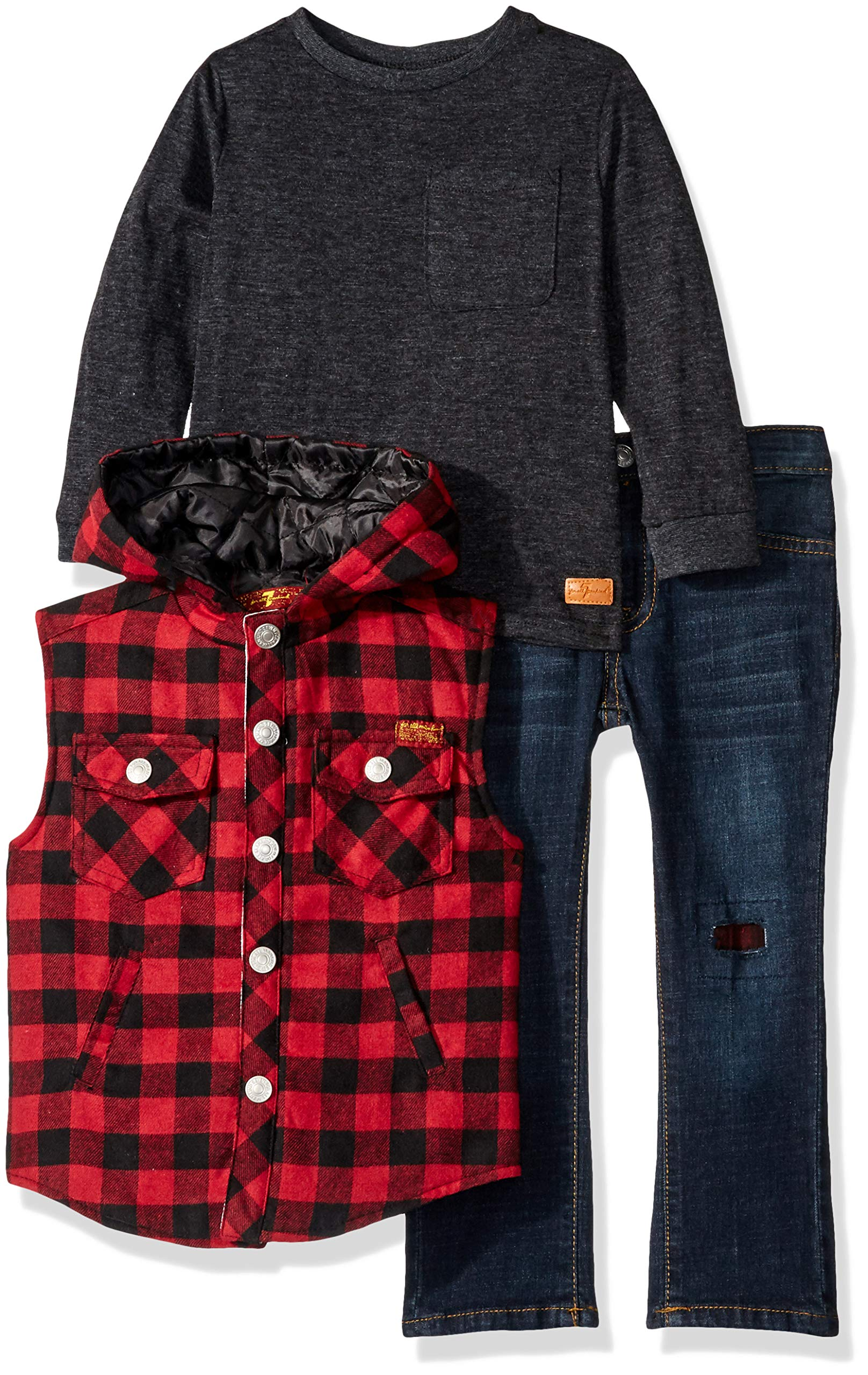 7 For All Mankind Boys' Toddler Flannel Vest, Long Sleeve Shirt and Jean Set
