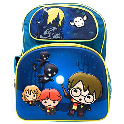Harry Potter Chibi 3-D 16 inch Teal Backpack with Hedwig, Harry, Ron & Hermione Running from Dementors | Kids' Backpacks