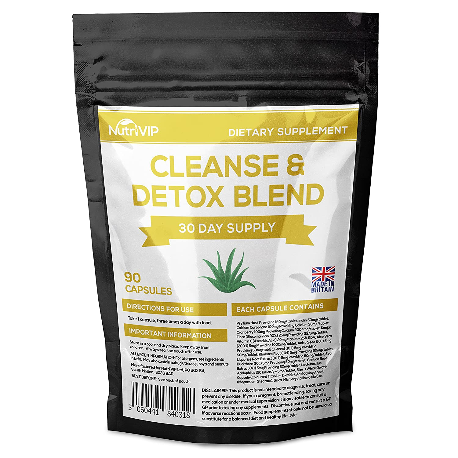 Cleanse And Detox Blend Slimming Diet Pills With Aloe Vera 90 Pack Uk Manufacturer