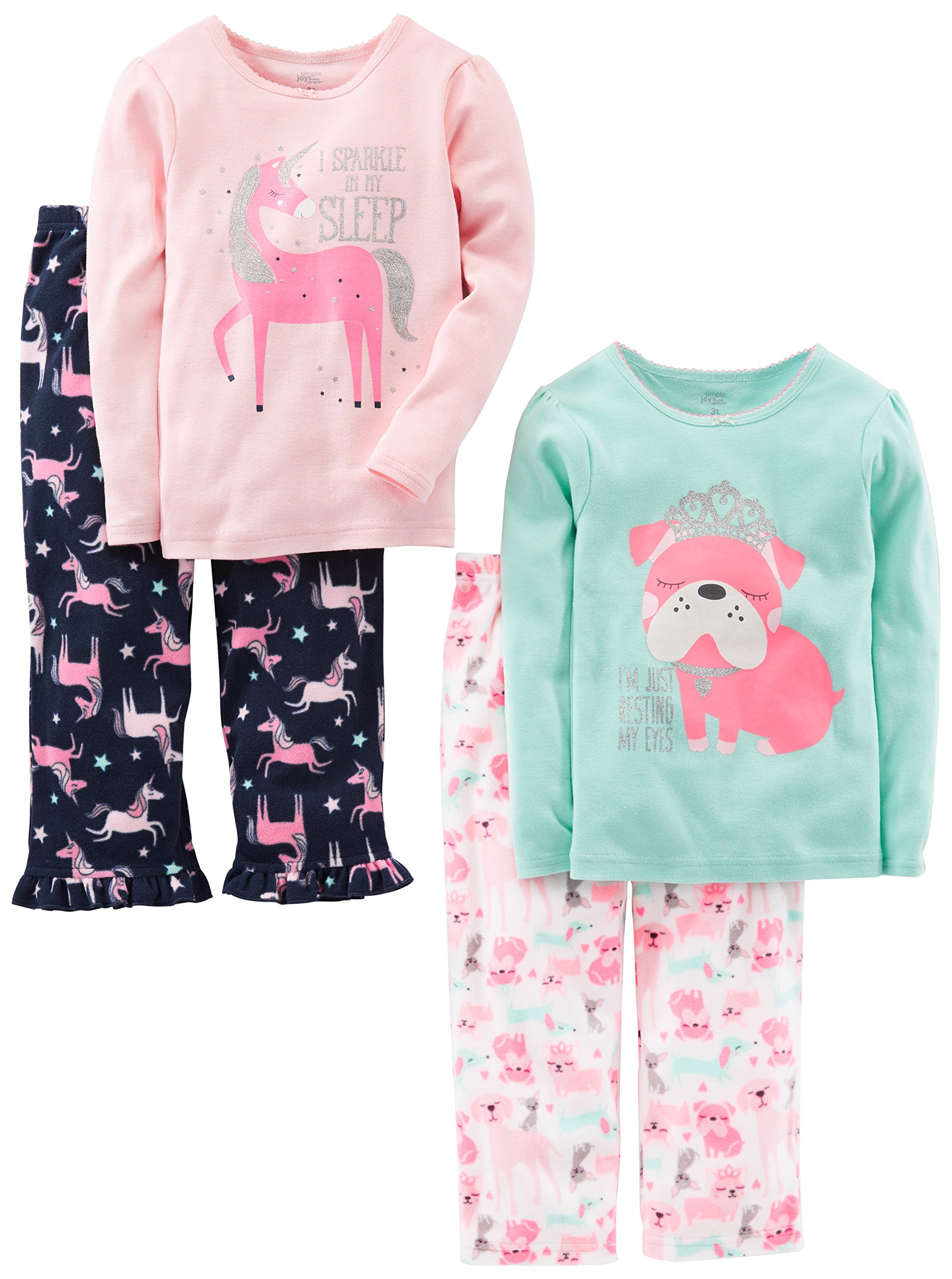 Simple Joys by Carter's Baby Girls' Toddler 4 Piece Pajama Set, Puppy/Unicorn, 3T