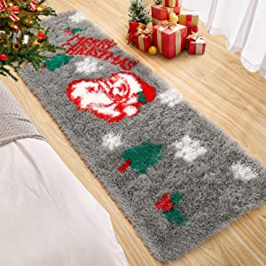 Foxmas Soft Christmas Rug Santa Claus Area Rug Gift for Holiday Décor Fluffy Plush Shaggy Doormat Anti-Skip Carpets for Indoor Garden Kitchen Bedroom Entrance Front Door, 2ft x 6ft, Grey