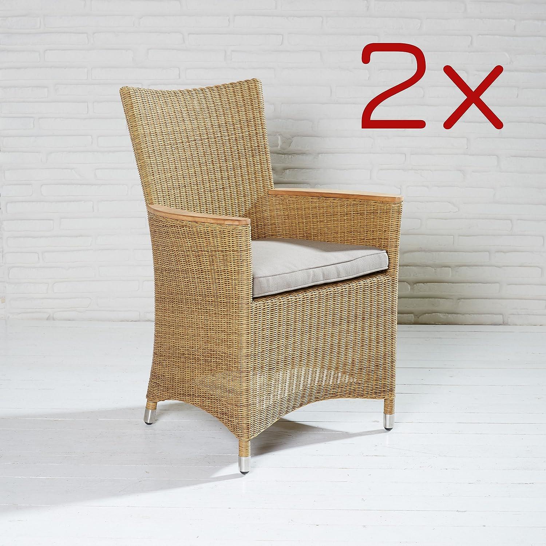 2 Stück Terrassenstühle Gartenstuhl Armlehnstühle natur braun Polyrattan Stühle