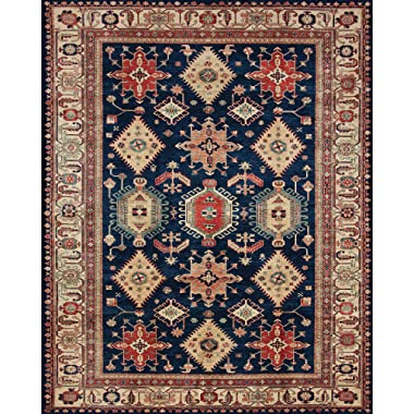 RUGGABLE Noor Sapphire Washable Indoor/Outdoor Stain Resistant 8'x10' (94 x120 ) Area Rug 2pc Set (Cover and Pad)