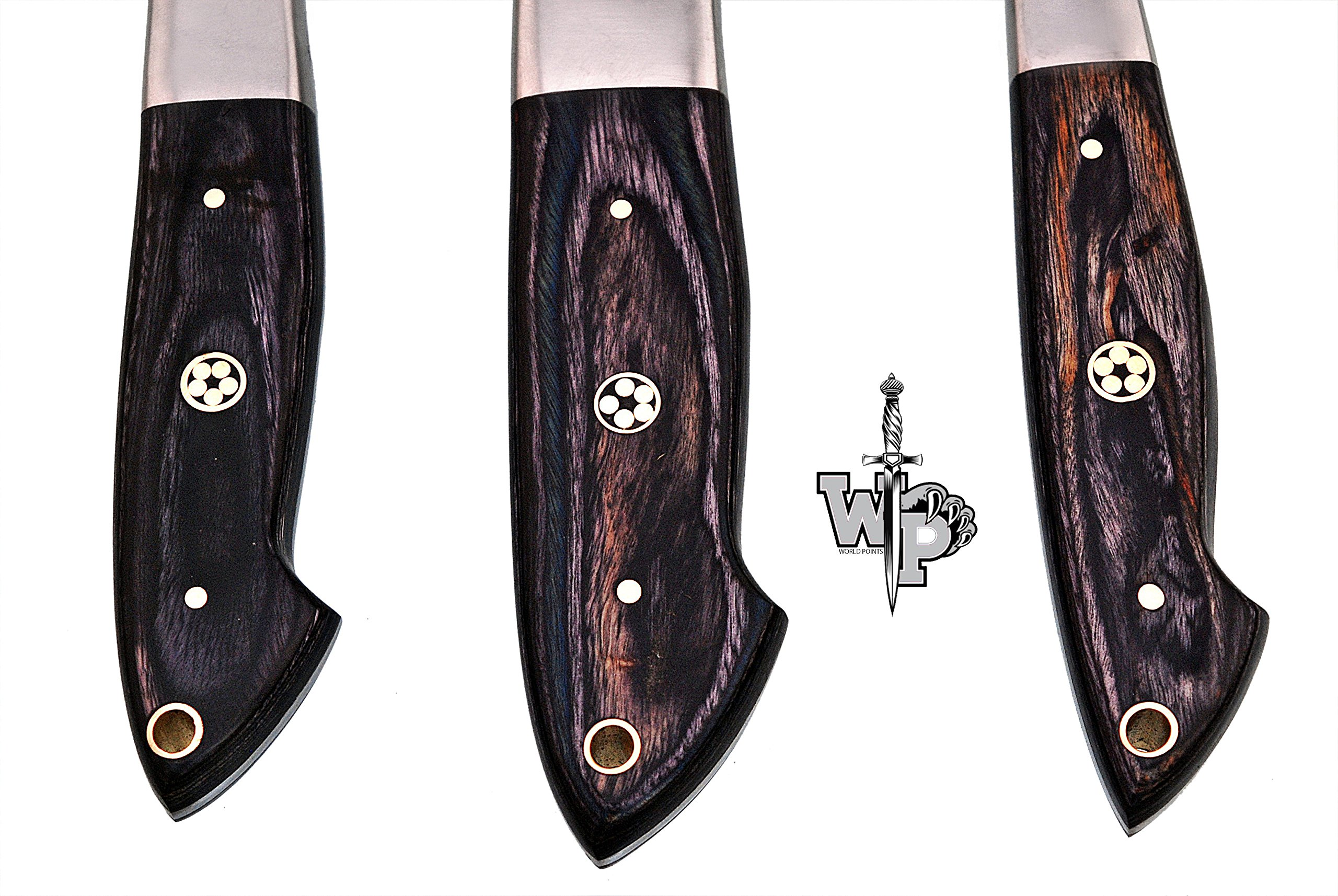 WORLD POINTS CUSTOM MADE DAMASCUS BLADE/KITCHEN CHEF KNIVES SET-3-PIECE (Black Wood) by World Points (Image #4)