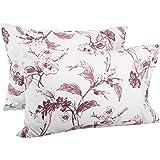 Pinzon Signature 190-Gram Cotton Heavyweight Velvet Flannel Pillowcases - Standard, Floral Amethyst