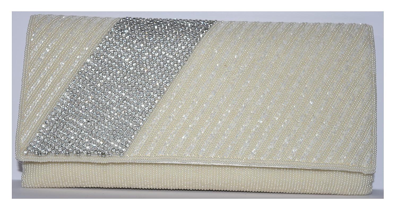 Cream Pearl and Diamond Evening Bag