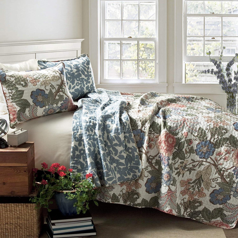 Lush Decor Sydney Quilt Floral Leaf Print 3 Piece Reversible Bedding Set, Full Queen, Green Blue