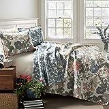 Lush Decor Floral Sydney 3-Piece Quilt Set Reversible Bedding (Full/Queen), Leaf Print