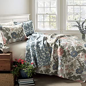 Lush Decor Sydney Quilt Floral Leaf Print 3 Piece Reversible Bedding Set, King, Green Blue