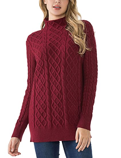 d34264b611bde3 PrettyGuide Women's Sweater Long Sleeve Mock Neck Pullover Tunic Sweaters S  Red