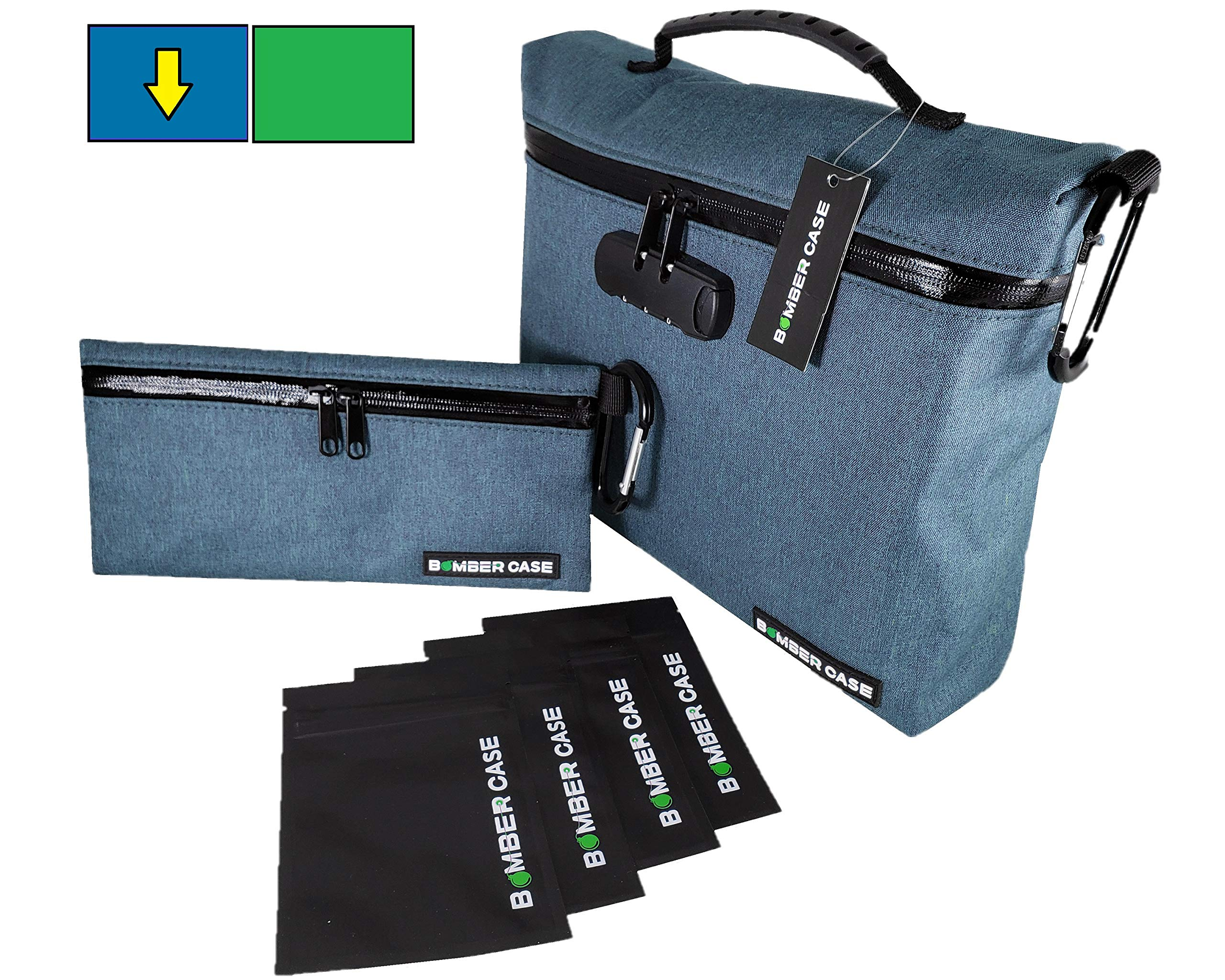 6 Piece Premium Locking Smell Proof Bag Set by Bomber Case. Lockable XL, Medium, 4 Small Reusable Heavy Duty Plastic Stash Bags. Odor Proof Pouch, Carbon Lined, Combination Lock Case. 2 Colors