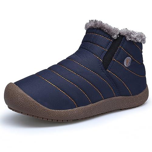 DAFENP Hombre Botas Otoño Invierno Fur Botines Calentar Nieve Botas al Aire Libre Boots,XZ005-M-darkblue-hightop-EU46: Amazon.es: Zapatos y complementos