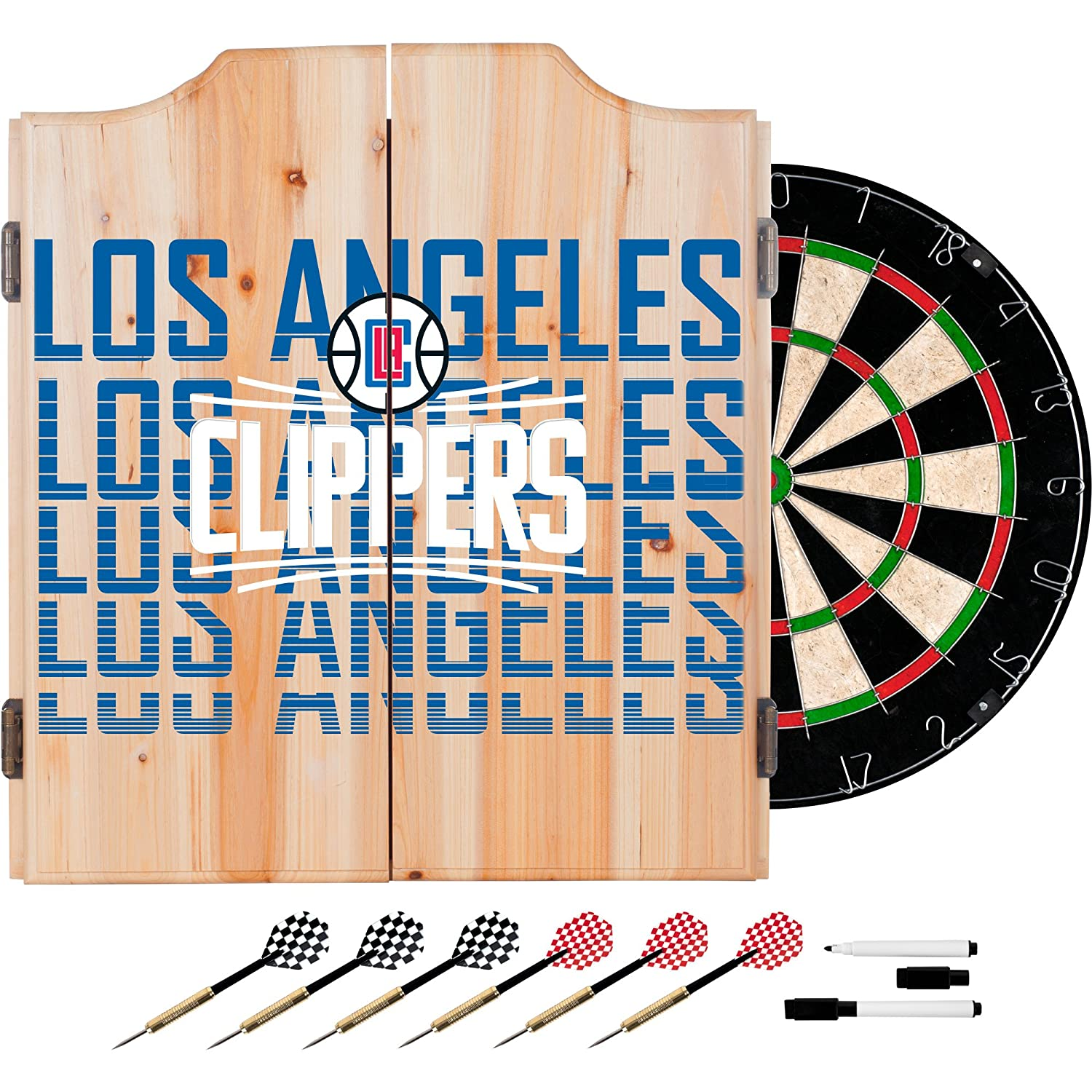 Trademark Gameroom NBA7010-LAC3 NBA Dart Cabinet Set with Darts & Board - City - Los Angeles Clippers   B0743T4SGM