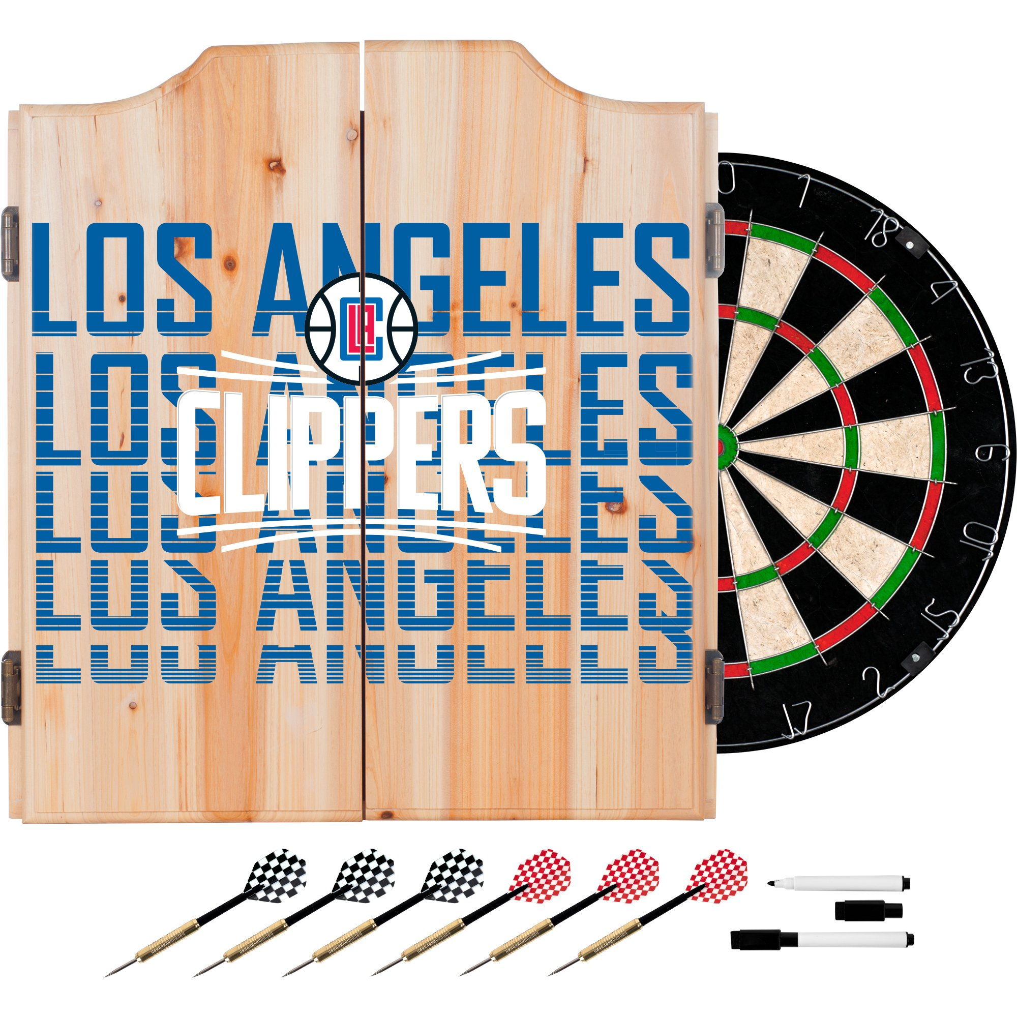 Trademark Gameroom NBA7010-LAC3 NBA Dart Cabinet Set with Darts & Board - City - Los Angeles Clippers