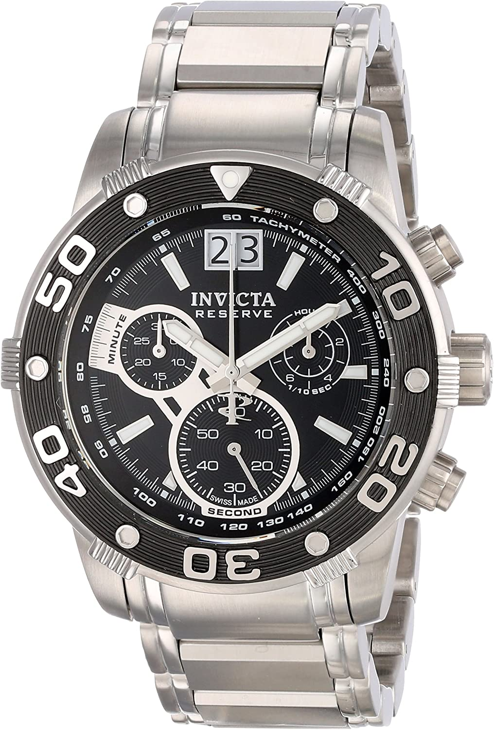Invicta Men s 0760 Ocean Reef Reserve Chronograph Black Dial Stainless Steel Watch